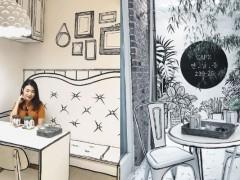 真的走进漫画里当女主角了!韩国2度空间咖啡店 居然连桌子、椅子都是用画的!
